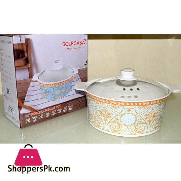 Solecasa Serving Dish With Glass Lid - Heat Proof - Ceramic - Amber