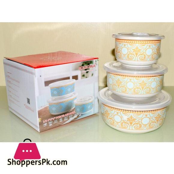 "Solecasa Storage Bowl Set With Lid - Printed - Set Of 3(4"",5"",6"")"