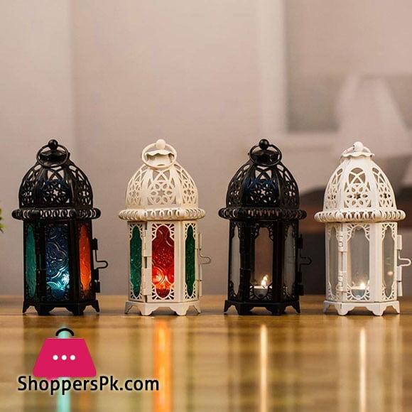 Vintage Castle Design Glass Candle Holder Cage Lantern 1 Pcs