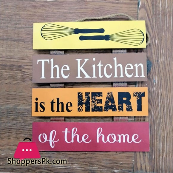 Wooden Wall Hanging Board Plaque Sign (The Kitchen is the Heart of the Home) 8 x 8 Inch