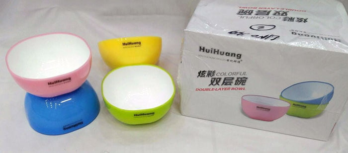 huiHuang Colorful Double Layer Bowl Pack of 6