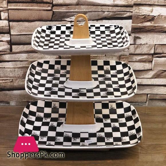 3 Tier Cake Stand Ceramic Black & White