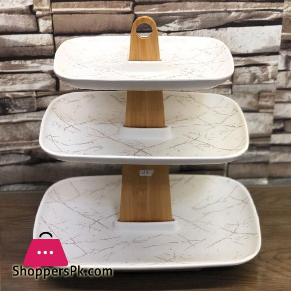 3 Tier Cake Stand Ceramic White