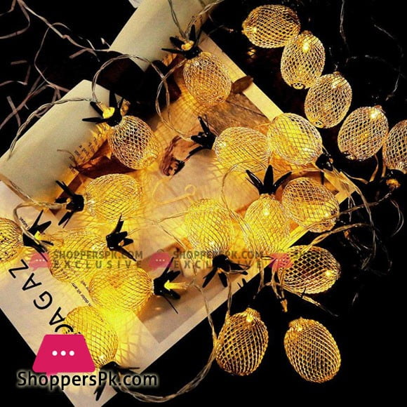 Battery Operated Pineapple Green Leaf Golden Metal Mesh Lantern 20 String Lights