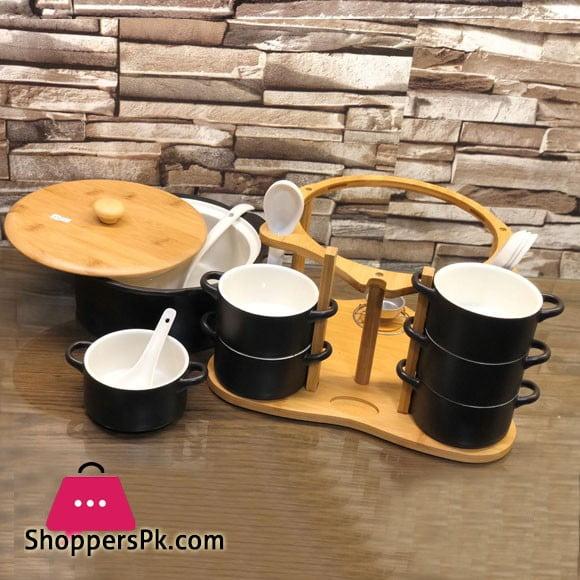 Ceramic 16 Pcs Soup Set Black