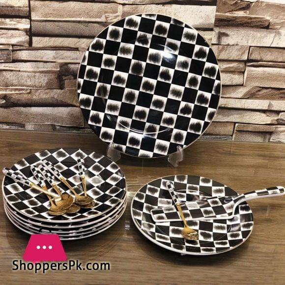 Ceramic Cake Serving Set 14 Pieces Black