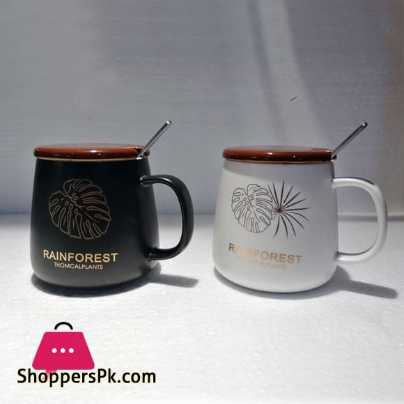 Coffee Mug With Cap And Spoon Rainforest