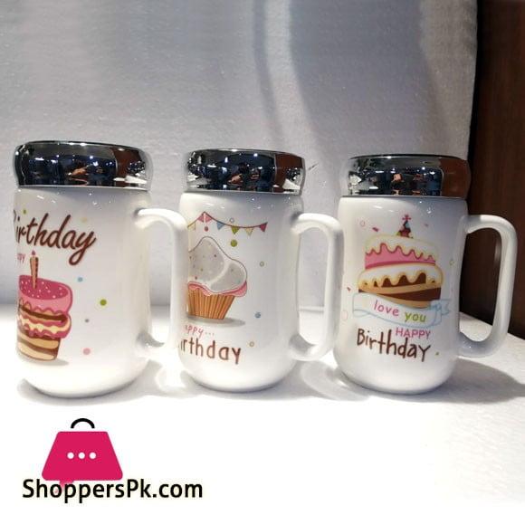 Happy Birthday Ceramic Coffee Mug with Cap
