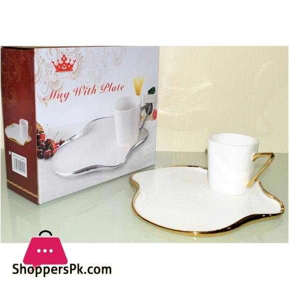 Imperial Elegant Tea Mug With Plate 1-Pcs White & Golden