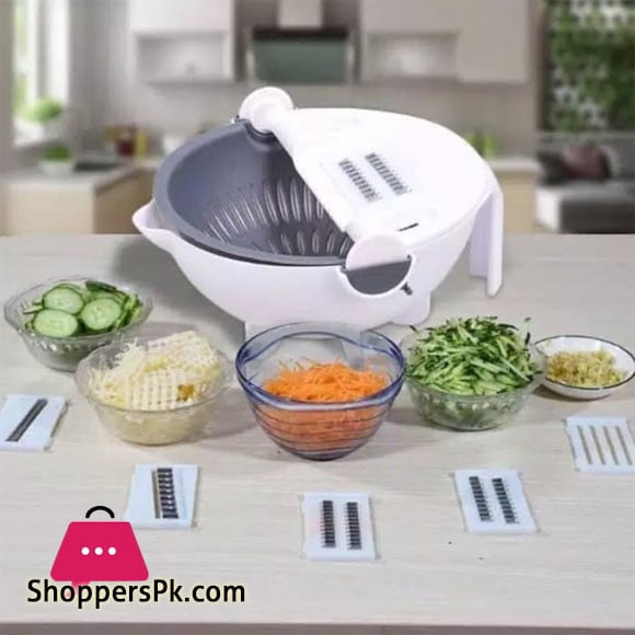 Magic Vegetable Cutter With Drain Basket 9 in 1 Multi-functional Kitchen Veggie Fruit Shredder Grater Slicer