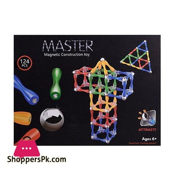 Master Magnetic Construction Building Blocks Set Toy 124 Pcs