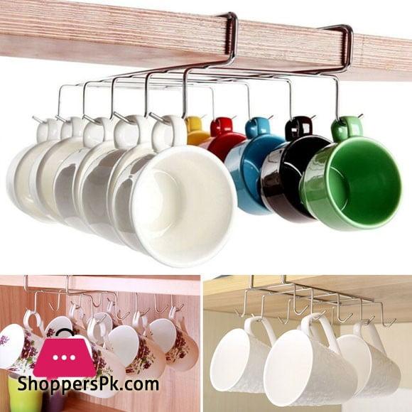 Under Shelf Storage 10 Hook Large Mugs Holder Cupboard Table Cabinet