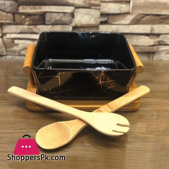 Salad Bowl With A Bamboo Stand Set Square