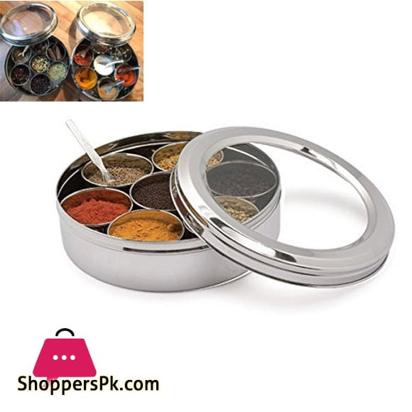 Stainless Steel Round Indian Spice Box Masala Dabba 08 Inch