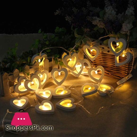 Wood Heart LED String Romantic Room Decoration Light