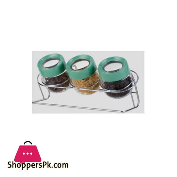 Brilliant Glassware 3ps Jar Set Green 450ml - BR0220