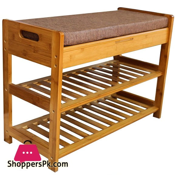 Bamboo 2 Tier Shoe Rack and Storage Bench Organizing Rack Bench Seat Perfect for Closets Hallway or Bedroom
