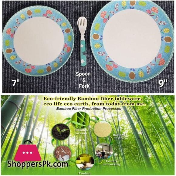 Bamboo Fiber Kids Dinner Plate 4 Pcs Set