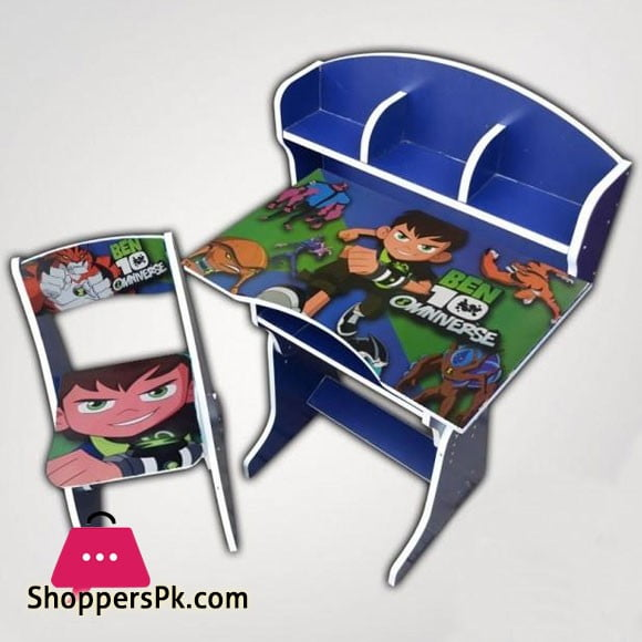 Ben-10 Wooden Study Table & Chair Set For Kids