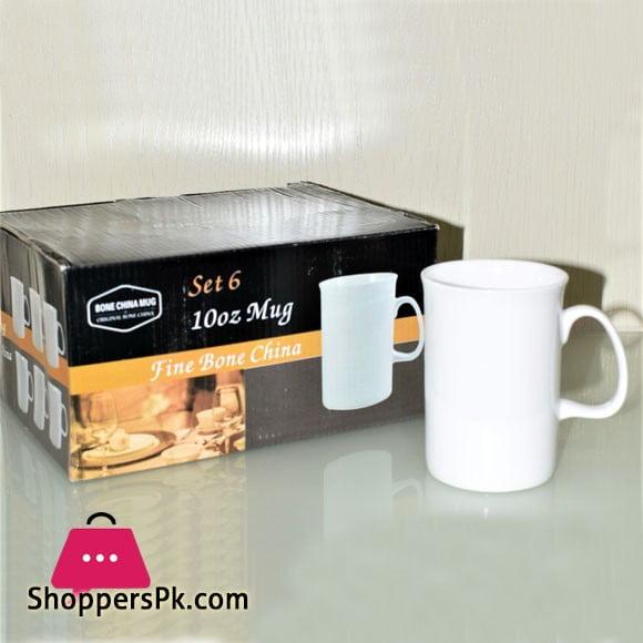 Bone China Mug Set 10-oz Mug Fine Bone China Set of 6