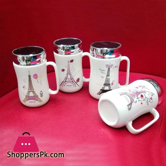 Ceramic Coffee Mug with Cap Eiffel Tower