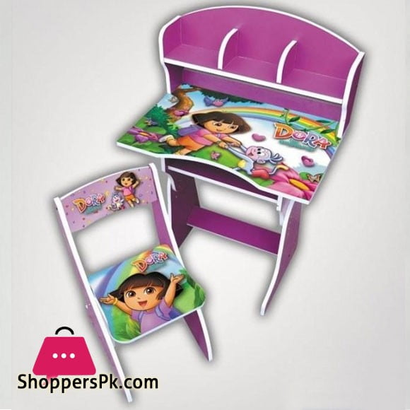 Dora Wooden Study Table & Chair Set For Kids