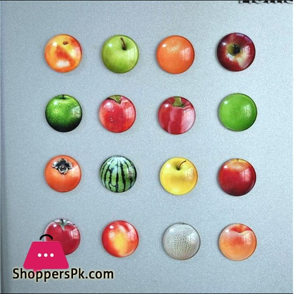 Fruits Fridge Magnets Glass Material Pack of 12