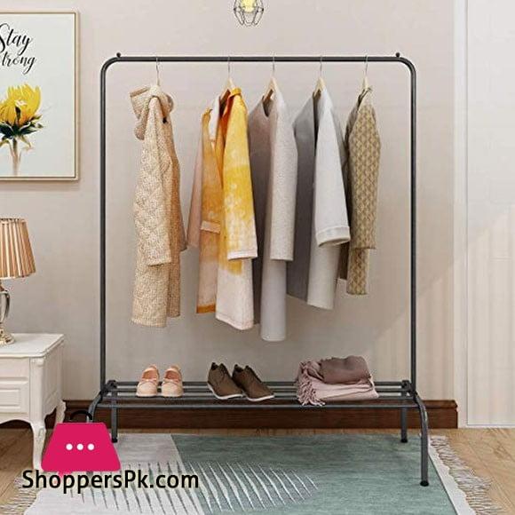 Heavy Duty Garment Racks Indoor Bedroom Clothing Hanger with Top Rod and Lower Storage Shelf 47'' x 65'' (Length x Height)