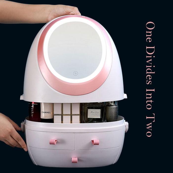 LED HD Mirror Makeup Storage Box Cosmetic Organizer Case
