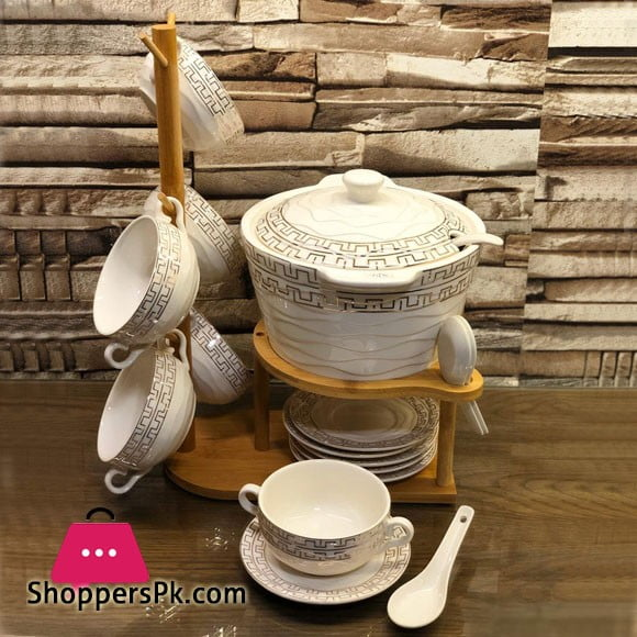New Bone China Soup Set With Bamboo Stand Set of 21 - Ceramic