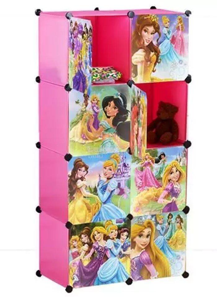 Plastic 8 Cube Cabinet - Princess