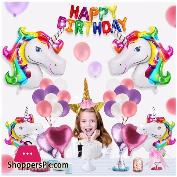 Unicorn Birthday Party Favors for Kids 42 Pcs Complete Deal Pack Foil Balloon Set