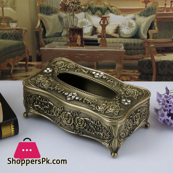 Universal Tissue Box Luxury European Pewter Metal (Bronze Color)
