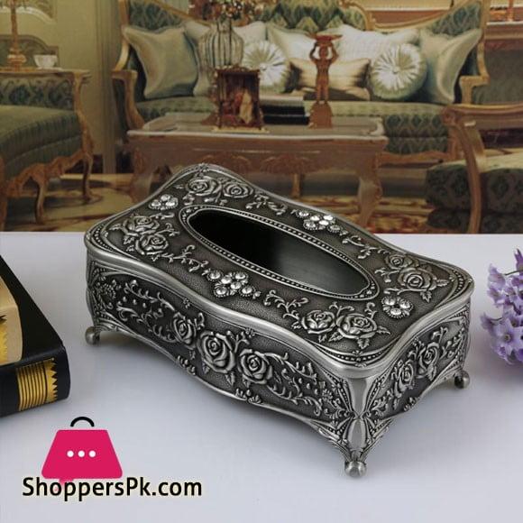 Universal Tissue Box Luxury European Pewter Metal (Pewter Color)
