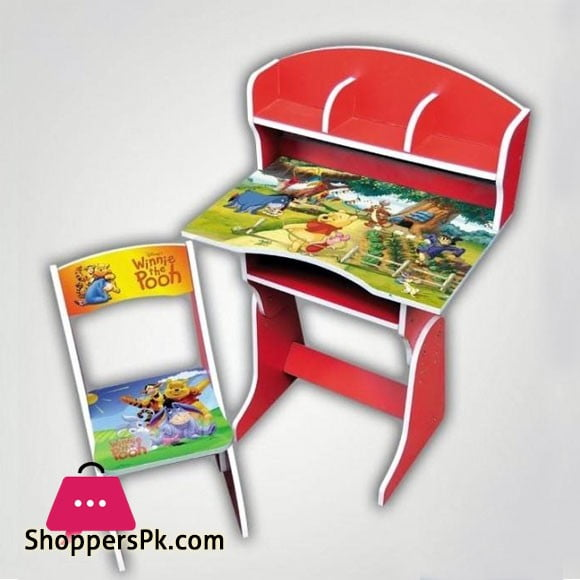 Winnie The Pooh Wooden Study Table & Chair Set For Kids