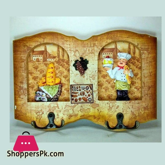 Wood Chef Design Wall Mounted Key Holder 4 Hook