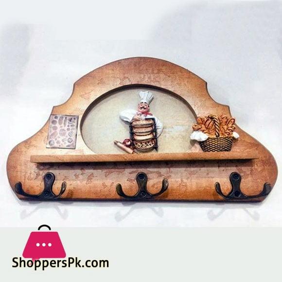 Wood Chef Design Wall Mounted Key Holder 6 Hook
