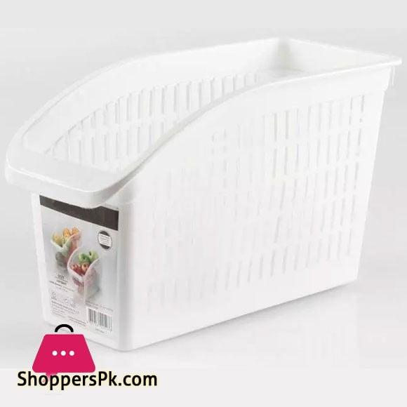 Compact Kitchen Organizer Plastic Basket Fruits Vegetable Storage Kitchen Organizer Fridge Organizer (Pack of 4)