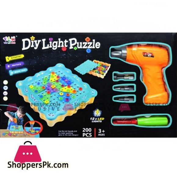 Kids Playing Diy Light Puzzle Toy
