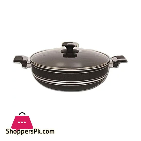 Domestic Non Stick Wok With Glass Lid 28 CM