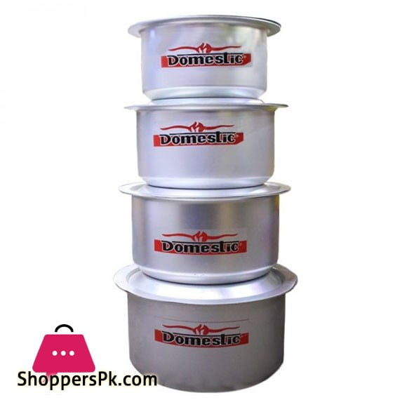 Domestic Metal Finish Cookware Cooking 4 Piece Set