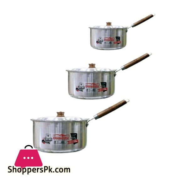 Domestic Sauce Pan With Lid Wooden Handle 3 Piece Set