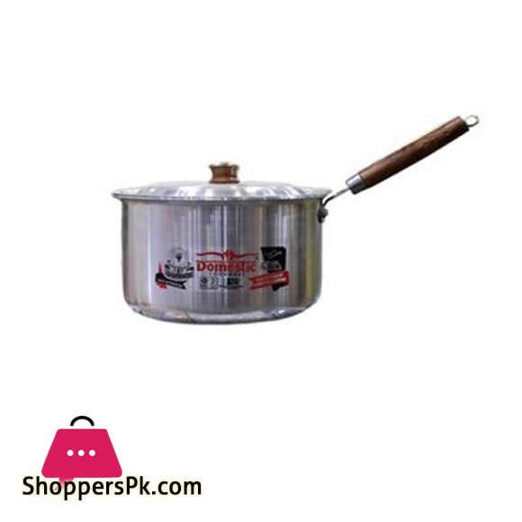 Domestic Sauce Pan With Lid Wooden Handle 7 Inch