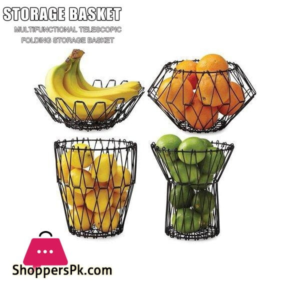 Folding Multipurpose Mesh Wire Fruit Basket
