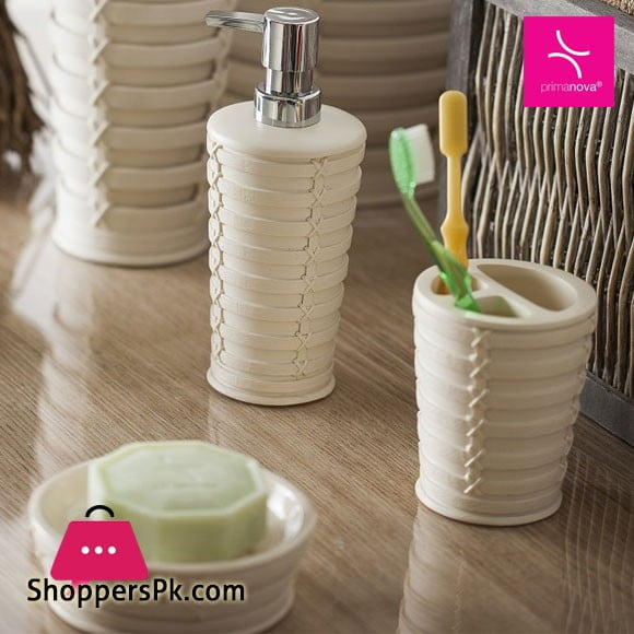 Primanova Palm Beige Break-Resistant Resin Material 3 Pcs Bathroom Set Turkey Made