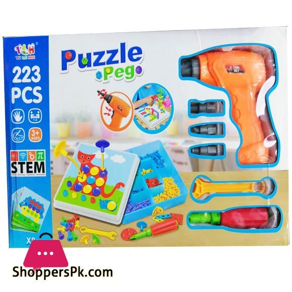Electric Drill & Screw Driver Tool Set Mosaic Puzzles Peg 223 Pieces