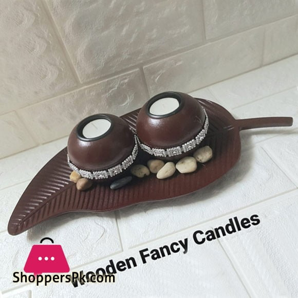 Wood Fancy Candles Brown 00213