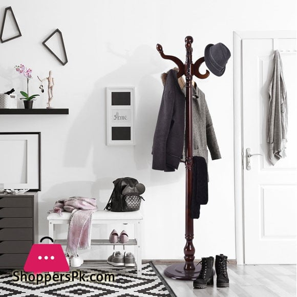 High Quality Wooden Coat Hanger Hat Stand Cloth Tree