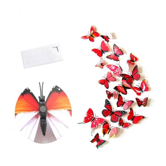 12 Pieces Wall Stickers Colorful Simulated Magnetic Butterflies Design Waterproof Sticker