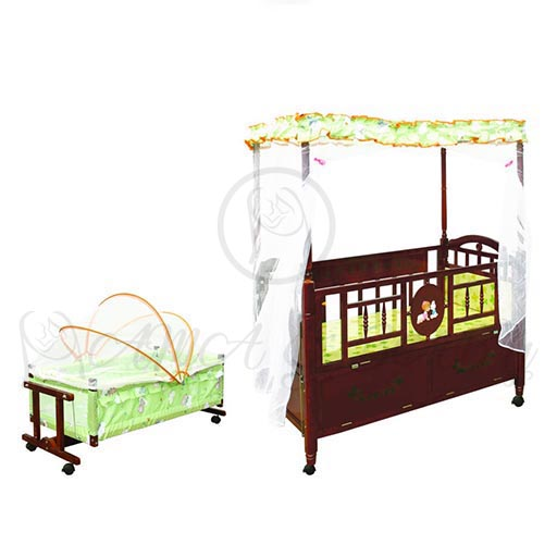 WOODEN COT BROWN 611